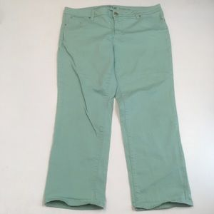Apt 9 mint green ankle straight leg jeans pants
